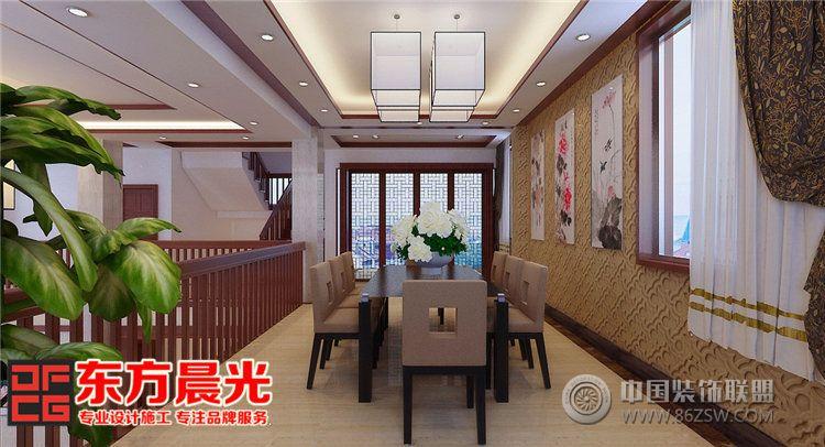 独栋别墅室内装修设计中式风格-餐厅装修效果图-八六