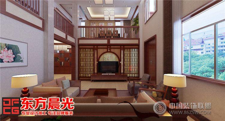 独栋别墅室内装修设计中式风格 客厅装修效果图 八六 中国 装饰联盟装