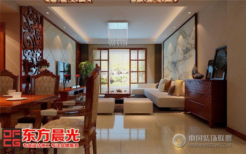 中式风格高端沉稳别墅装修设计-客厅装修效果图-八六