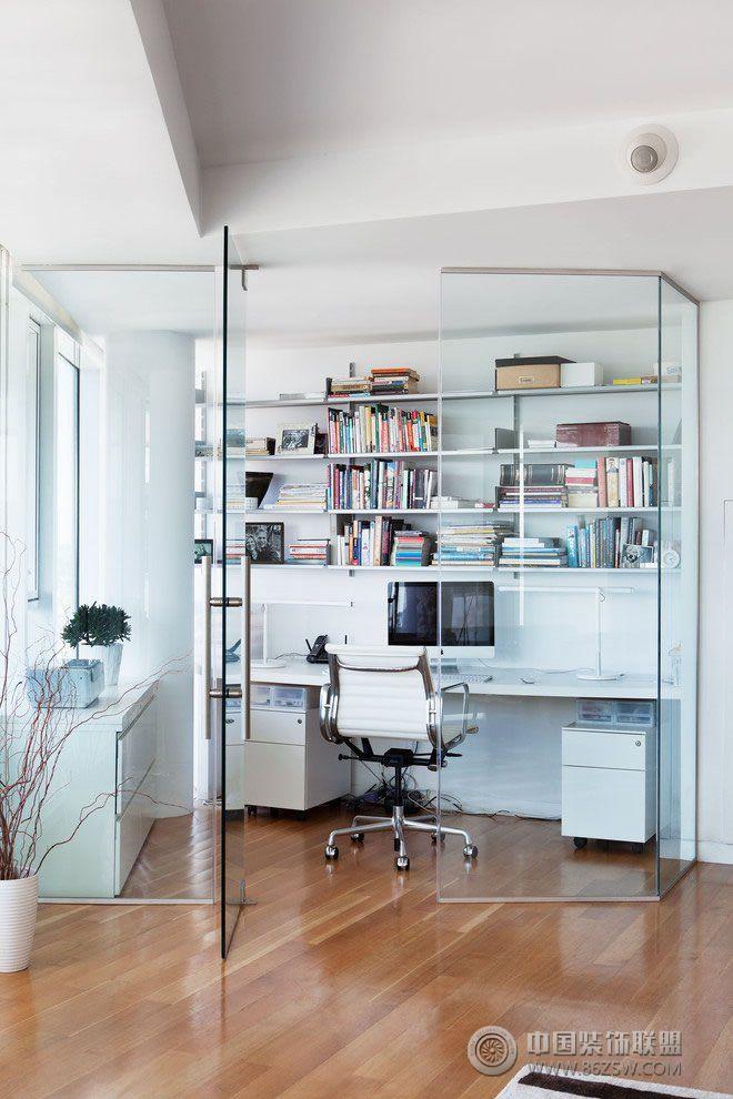 创意玻璃隔断设计现代书房装修图片