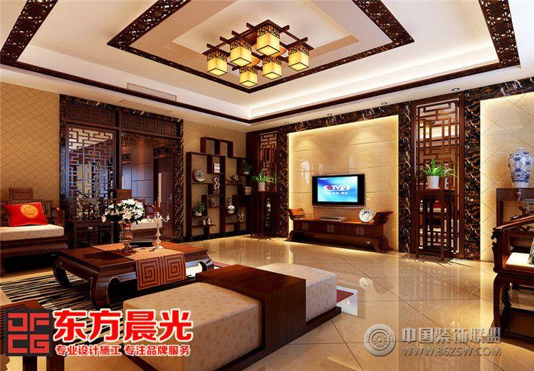 别墅中式装修设计显柔和古典美-客厅装修效果图-八六