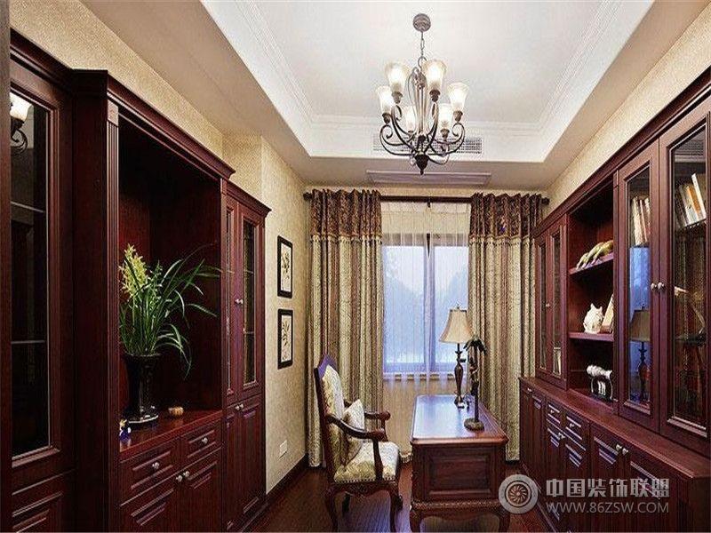 古典欧式别墅装修书房效果图 成都尚层装饰别墅装修美式风