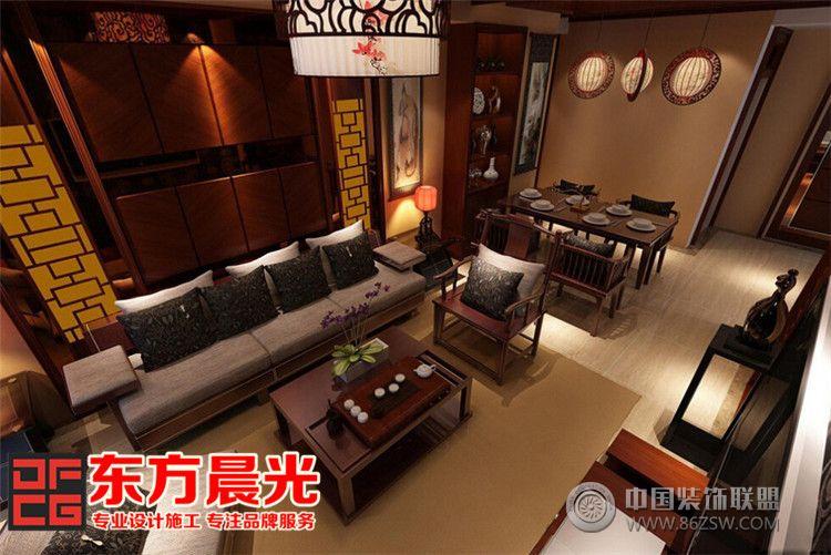 中式别墅简约风格客厅装修设计 餐厅装修效果图 八六装饰