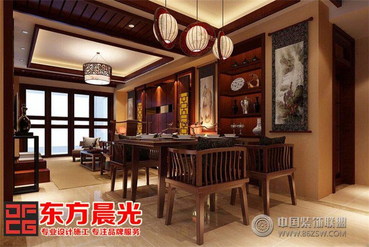 中式别墅简约风格客厅装修设计 餐厅装修效果图 -中式别墅简约风格客