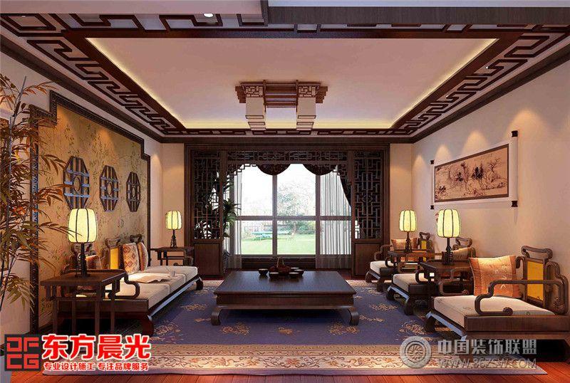 传统中式装修别墅设计效果图-客厅装修效果图-八六()