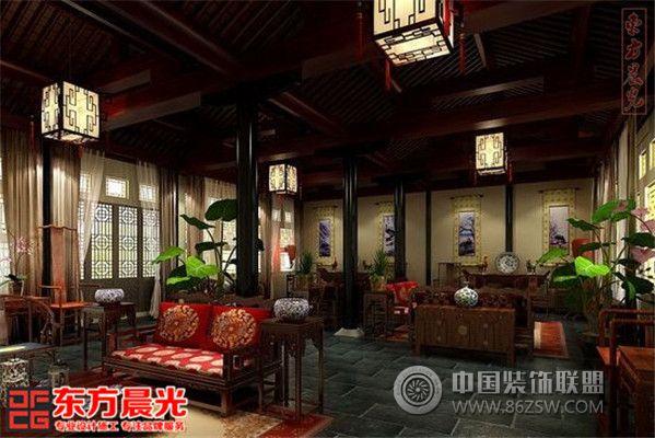 中式四合院设计室内装修-客厅装修效果图-八六(中国)