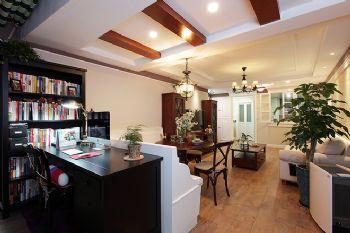 100平中式美式装修案例中式客厅装修图片
