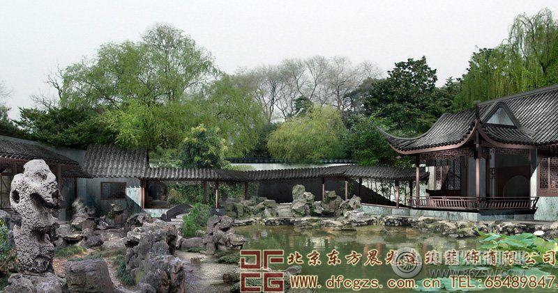古代山水房子绿色图片
