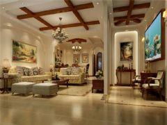 成都尚层装饰别墅装修美式风格装修案例效果图欣赏(五)美式客厅装修图片