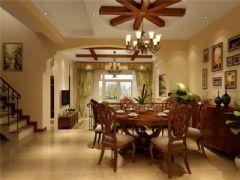 成都尚层装饰别墅装修美式风格装修案例效果图欣赏(五)美式餐厅装修图片