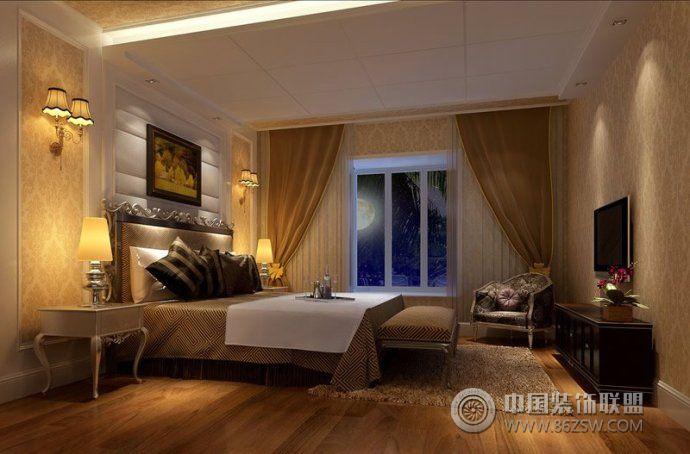 美丽卧室壁纸搭配欧式卧室装修图片