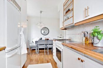 68平北欧简约清新时尚居欧式厨房装修图片