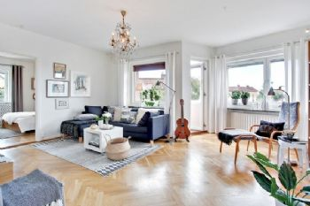 68平北欧简约清新时尚居欧式客厅装修图片