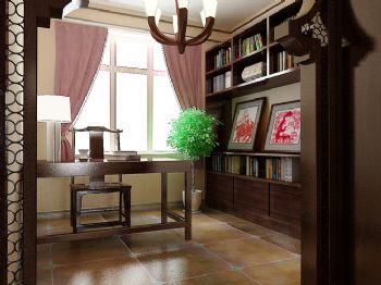 116平新中式时尚婚房中式书房装修图片