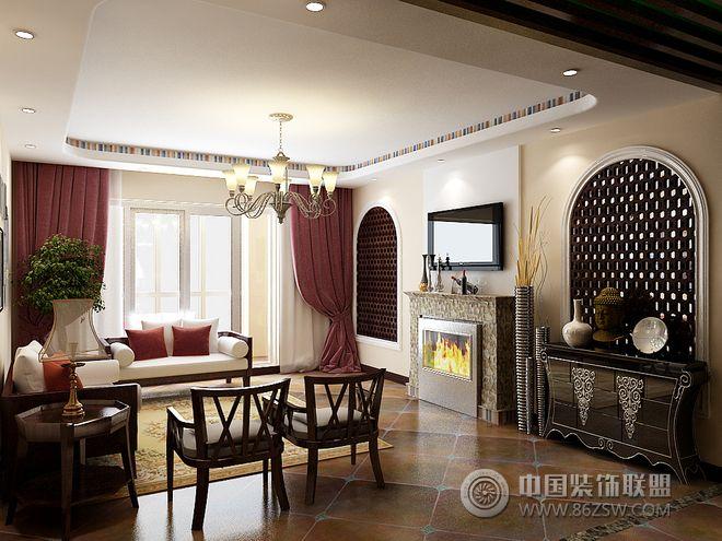 116平新中式时尚婚房 餐厅装修效果图高清图片