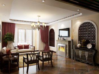 116平新中式时尚婚房中式客厅装修图片