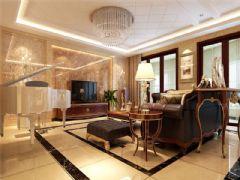 成都尚层装饰别墅装修简欧风格效果图欣赏(一)欧式客厅装修图片