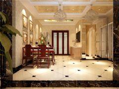 成都尚层装饰别墅装修简欧风格效果图欣赏(一)欧式餐厅装修图片