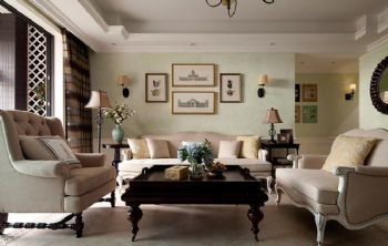155平美式乡村雅居装修案例美式客厅装修图片