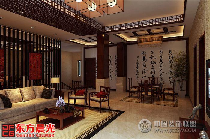 中式古典别墅装修设计素雅之美-客厅装修效果图-八六