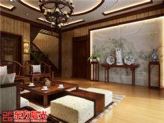 中式风格别墅装修设计案例原木构架中式客厅装修图片