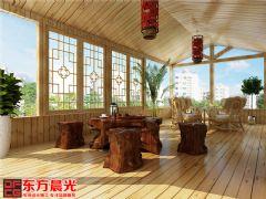 中式风格别墅装修设计案例原木构架中式阁楼装修图片