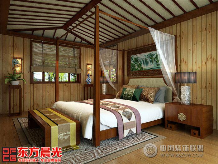 中式风格别墅装修设计案例原木构架
