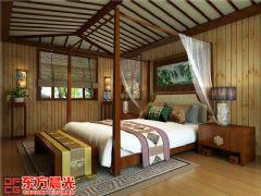 中式风格别墅装修设计案例原木构架中式卧室装修图片