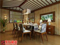 中式风格别墅装修设计案例原木构架中式餐厅装修图片
