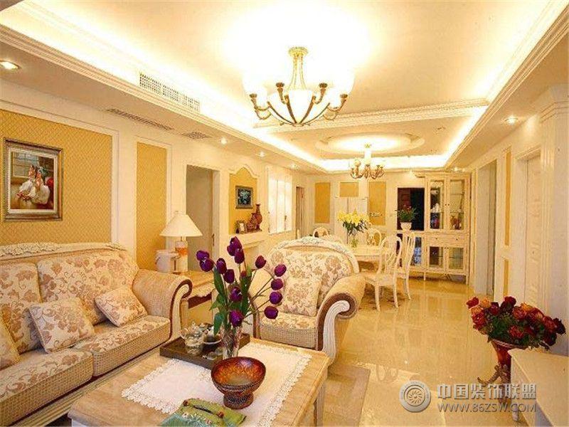 成都尚層裝飾別墅裝修歐美風格案例效果圖欣賞(三)歐式客廳裝修圖片