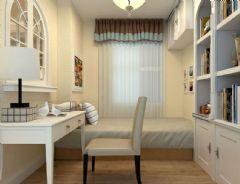 中海凤凰熙岸128平方3居室-田园效果图田园书房装修图片