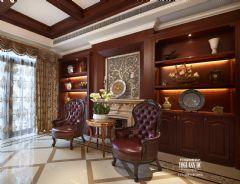 武汉尚层装饰招商公园1872美式风格方案展示美式书房装修图片