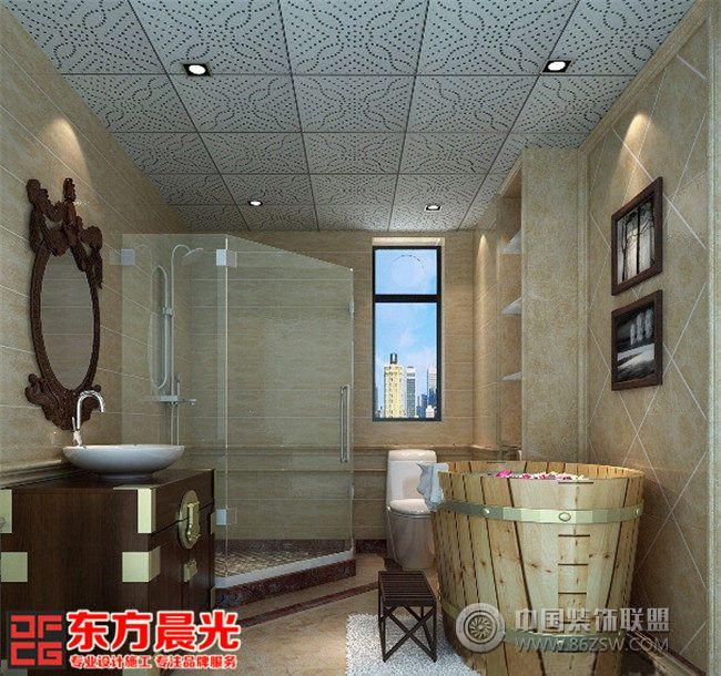 整套别墅简约中式装修设计图-卫生间装修效果图-八六