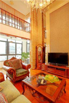 192平中式美式复式时尚家美式客厅装修图片