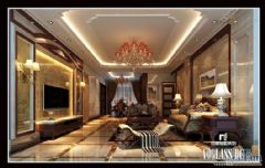 成都尚层装饰别墅装修欧美风格案欣赏(四)美式客厅装修图片