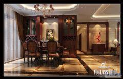 成都尚层装饰别墅装修欧美风格案欣赏(四)美式餐厅装修图片