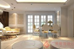 香缇熙岸装修案例——烟台广来装饰欧式客厅装修图片