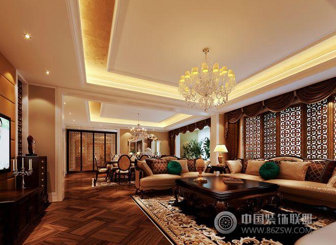 330平欧式奢华豪宅-客厅装修效果图-八六(中国)装饰