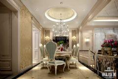 万达御湖世家户型软装配饰设计简约餐厅装修图片