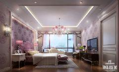 万达御湖世家户型软装配饰设计简约卧室装修图片