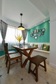 112平美式清新小屋美式餐厅装修图片