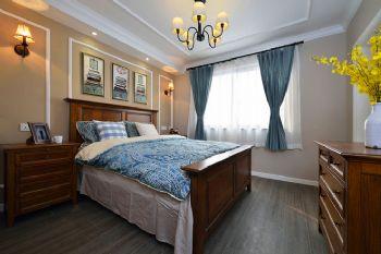 112平美式清新小屋美式卧室装修图片
