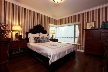 93平欧式美式混搭公寓混搭卧室装修图片