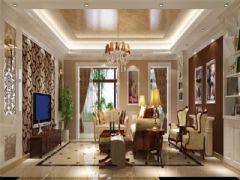 成都尚层装饰别墅装修欧式风格案例效果图欣赏(六)欧式客厅装修图片