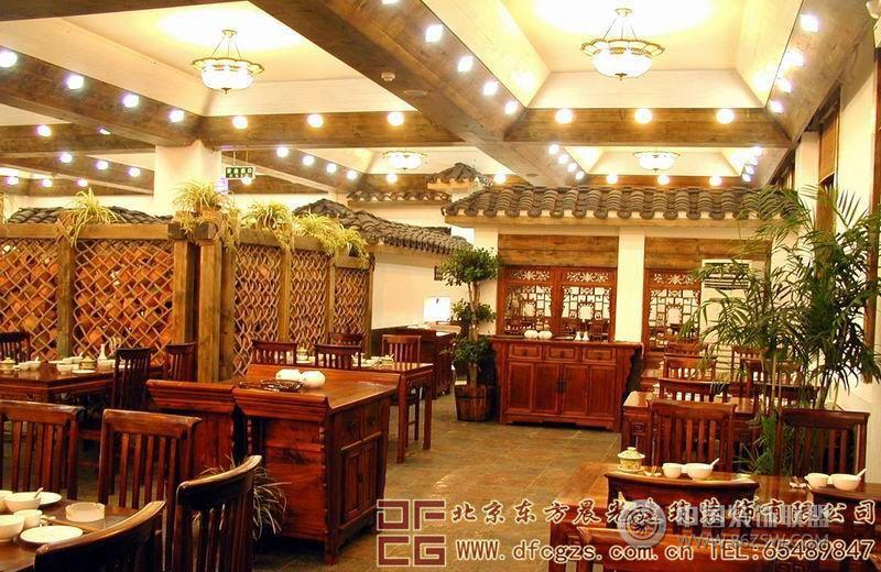 华贵优雅的中式餐厅装修设计图-酒店装修图片