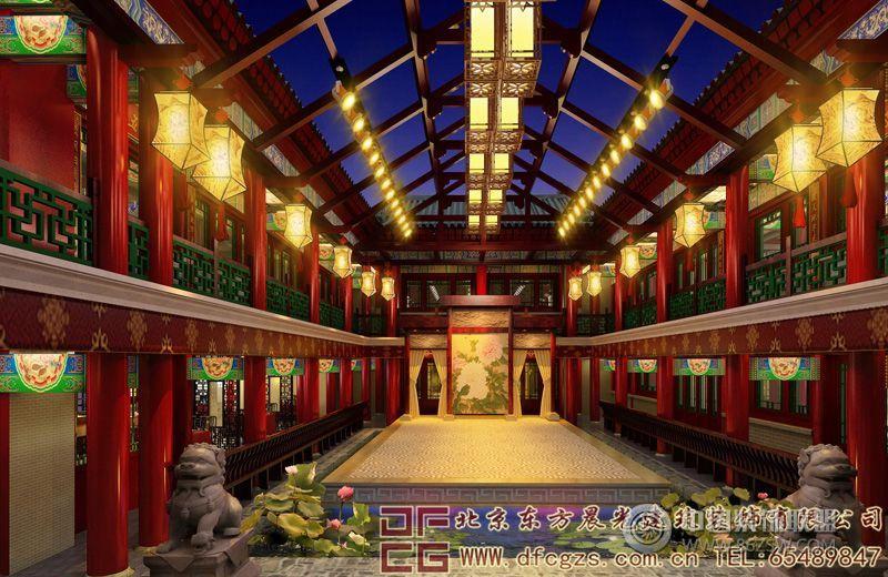 中式酒店装修设计效果图 单张展示 酒店装修效果图 八六 中