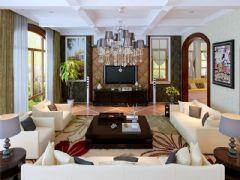 成都尚层装饰别墅装修欧美风格案例欣赏(十)美式客厅装修图片