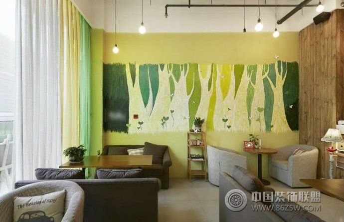 手绘背景墙效果图-客厅装修效果图-八六(中国)装饰