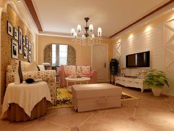 93平二居美式乡村田园美式客厅装修图片