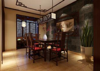 120平三居中式风格中式餐厅装修图片